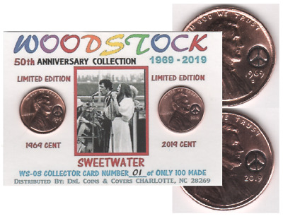 1969 Lincoln Cent WOODSTOCK 50th SWEETWATER Keepsake Collector Coin Card #WS-03