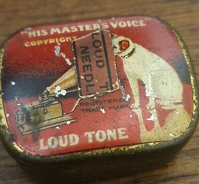 vintage his masters voice RECORD NEEDLES IN TIN