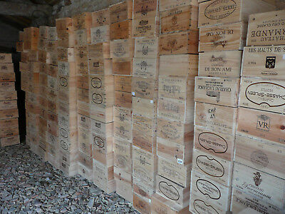 4 x Wine Box Crate. Wooden. 12 bottle size. French. Genuine.