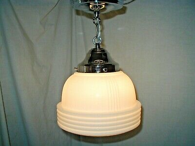 Antique Vtg Art Deco 30S Glass Shade Pendant Chrome Light Fixture Bath Laundry