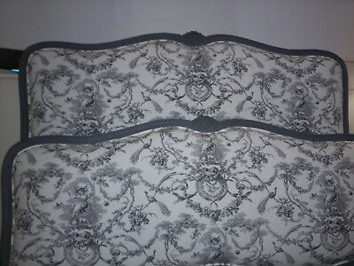 Antique French double bed, newly upholstered