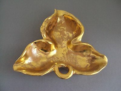 Vintage Stangl Hand Painted Granada Gold Leaf Candy Trinket Dish #5146