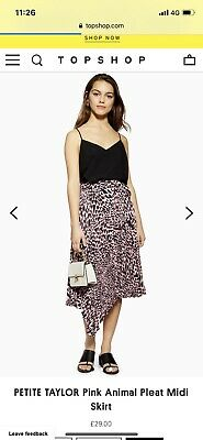 20936e7f0e43 Topshop Animal Print Skirt Size 8 Pink And Black Pleated Midi Floaty Leopard