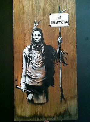 Banksy No Trespassing Indian graffiti street art on Canvas 8 x 10 inch print