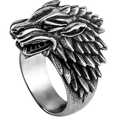 Direwolf Ring House Stark Game Of Thrones Winterfell Stainless Steel Sizes 7-13