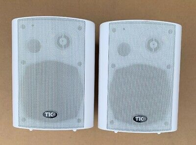 """Pair tic asp25 White 4.25/"""" 3-Way Outdoor Weather-Resistant Patio Speakers"""