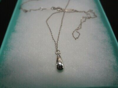 """Tiffany & Co Elsa Peretti Sterling Silver Tear Drop Pendent 16"""" Necklace W/Pouch"""