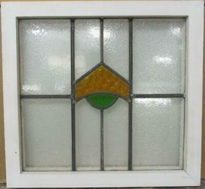 "OLD ENGLISH LEADED STAINED GLASS WINDOW Cute Geometric Design 18.75"" x 17.5"""