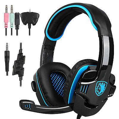 Sades 708GT Upgrade Gaming Headset 3.5mm Surround Stereo w/Mic for Xbox PS4 Blue