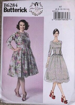 BUTTERICK PATTERN 6284 Dresses Retro Misses Sizes 6 8 10 12