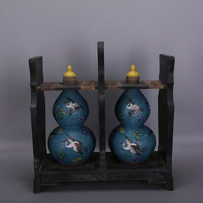 "13"" A pair China antique Porcelain Qianlong colour enamel crane gourd Flagon"