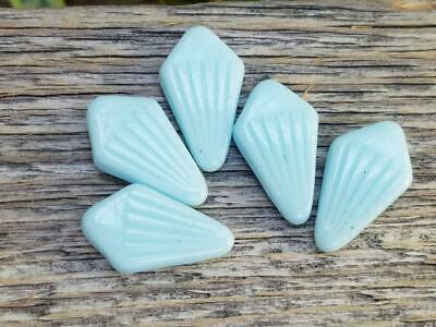 Vintage Rare Opaque Baby Blue Glass Beads Top Drilled Art Deco Unique Jewelry