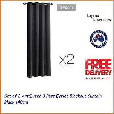 Set of 2 ArtQueen 3 Pass Eyelet Blockout Curtain Black 140cm