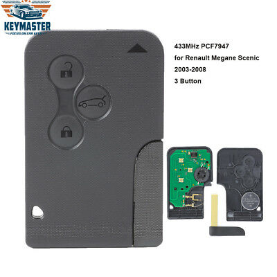 Smart Remote Key Fob 3 Button 433MHz PCF7947 for Renault Megane Scenic 2003-2008