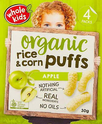 Whole Kids Organic Apple Rice and Corn Puffs, 4 packs x 30g (240g total)