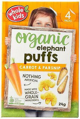 Whole Kids Organic Carrot and Parsnip Elephant Puffs 4 Packs x 24g (96g)
