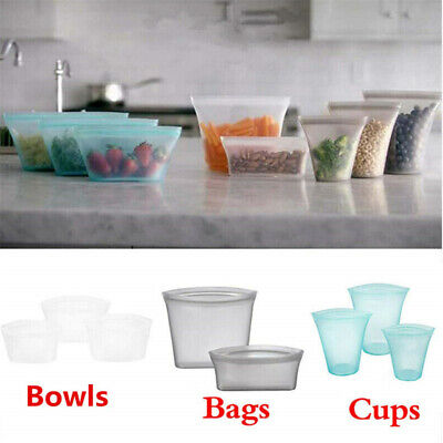 3pc Reusable Silicone Food Storage Preservation Bag Airtight Seal Food Container