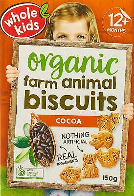 Whole Kids Organic Cocoa Farm Animal Biscuits, 6 packs x 150g