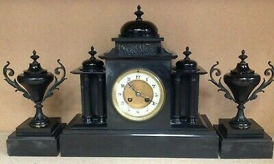 Antique Black Stone / Marble Mantel Clock - Japy Frères & Co G De Med. D'Honneur