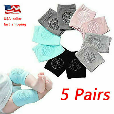 5 Pairs US Baby Crawling Knee Pads Safety Anti-slip Walking Leg Elbow Protector