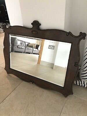 Large Ornate Antique Large Oak Mirror Bevelled Vintage Old 83 x 64cm