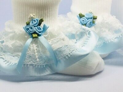 Handmade pale blue roses lace frilly socks baby/girls various sizes