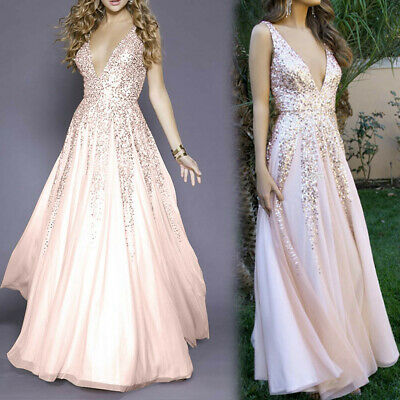 Fashion Sexy Womens Sleeveless V-Neck Lace Hollow Out Cocktail Prom Gown Dresses