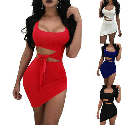 CA Womens Solid O Neck Sexy Sleeveless Above Knee Dress Party Mini Dresses