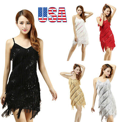 CA Womens Sexy Gold Vintage V-Neck  Great Gatsby Sequin Sleeveless Party Dress