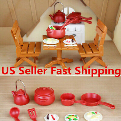 Plastic Dining Table Miniature Kitchen Doll House Furniture Toy US