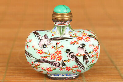 chinese old cloisonne hand painting swallow snuff bottle