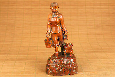 chinese old boxwood hand carved pig and girl statue figure netsuke collectable