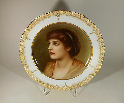 Antique KPM Hand Painted Portrait Plate - Young Beauty - Marked w/ Scepter & Orb
