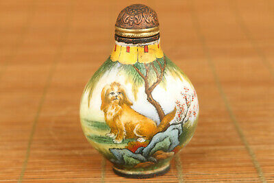 chinese old cloisonne hand painting lovely dog cat statue snuff bottle