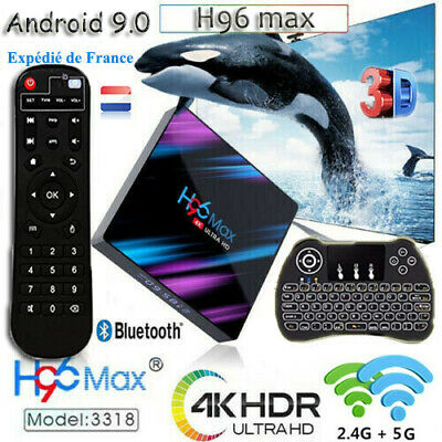 H96 Max Android 9.0 Tv Box RK3318 Quad Core 4Go 64Go 2.4G&5G WiFi Smart 4K Media