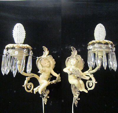 2 Antique French Cherub Spelter lamp Vintage Shabby sconce chic Paris Architectu