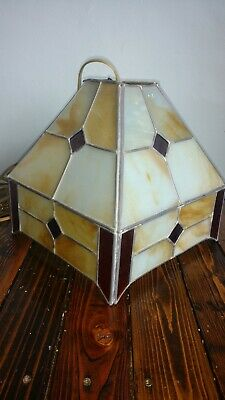 Antique Arts & Crafts Era Slag Stained Glass Light Lamp Chandelier Shade plug in
