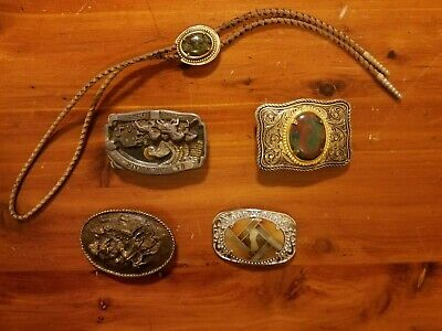 LOT OF 4 VINTAGE WESTERN BELT BUCKLES and BOLO