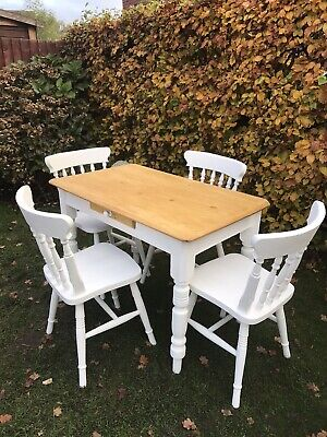 victorian pine farmhouse table and chairs