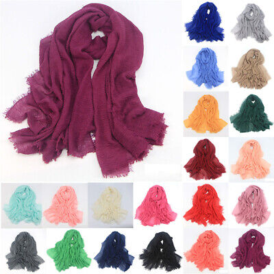 Fringes Scarf Colorful Fashionable Fashion Cotton Linen Wrinkle Muslim Nobby