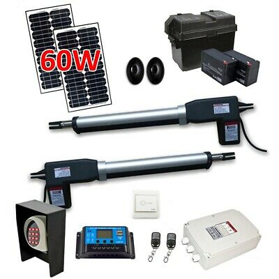 ALEKO Solar Powered Full Kit Swing Gate Operator For Dual Gates up to 1320 lb
