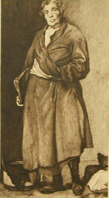 Aesop by Goya after Velázquez pencil signed sepia etching 1800's
