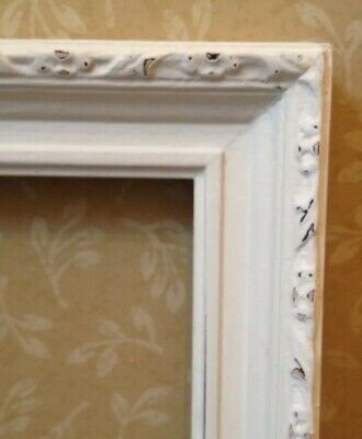 Vintage Shabby Chic Wooden Ornate Picture Frame - Hand Painted Cream - Wedding