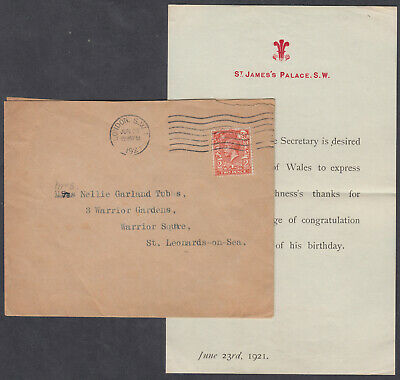 1921 Prince of Wales (Late KEVIII) Birthday/St. James Palace Letter/Flap;SW1 M/C