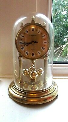 Vintage H.samual Quartz Anniversary Clock~Brass Base With Glass Dome
