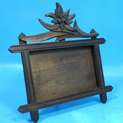 Antique Black Forest Wood Carving TABLE/DESK PHOTO FRAME Edelweiss Flower Brienz