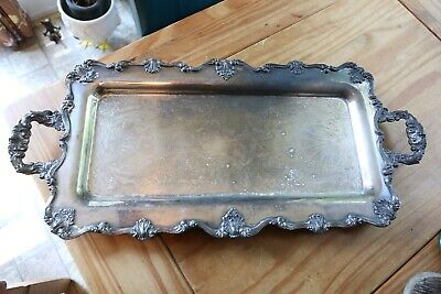 Long Rectangular Vintage Silver Plate Serving Tray Handled Footed Ornate