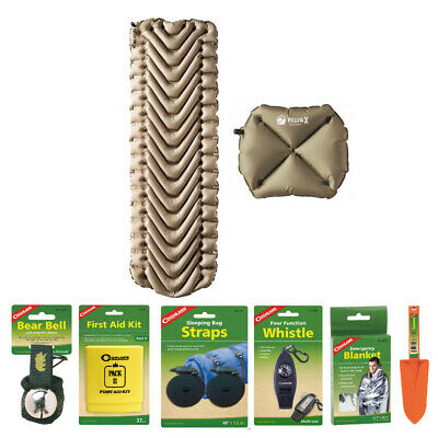 Klymit Static V Recon (Tan) Inflatable Sleeping Pad and Pillow Camping Kit