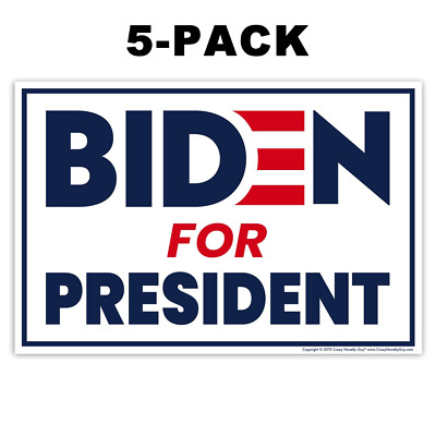 """(5-Pack) Political Campaign Yard Signs, Joe Biden 2020, 2-Sided signs, 18"""" x 12"""""""
