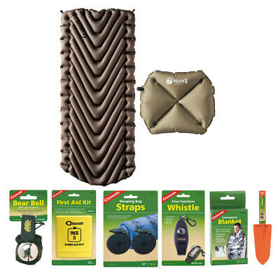 Klymit Static V Luxe (Tan) Inflatable Sleeping Pad and Pillow Camping Kit